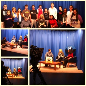 Visiting with some of the journalism and broadcasting students at HHS